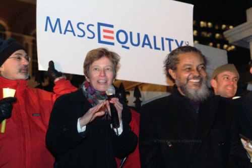 GLAD attorney Mary Bonauto addresses the crowd at the March 10, 2004, MassEquality candlelight vigil. Rep. Byron Rushing, a longtime supporter of the gay community and a leader on the same-sex marriage issue, is standing next to her.
